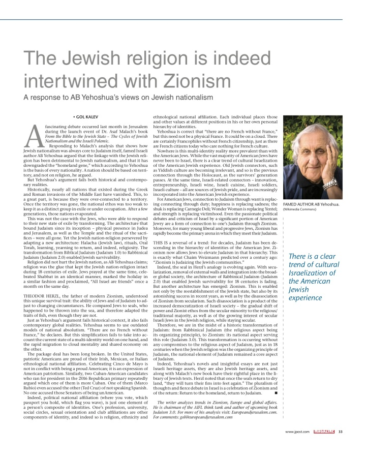 Jpost - Jewish religon intertwined with Zionism