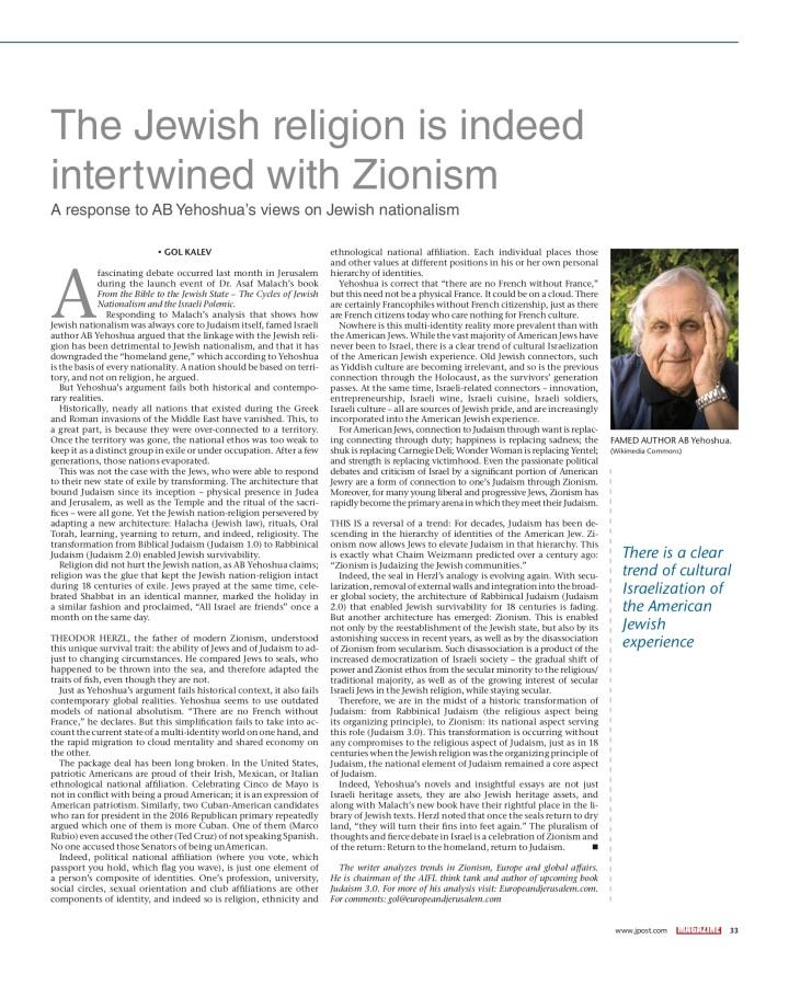 Jpost - Jewish religon intertwined with Zionism